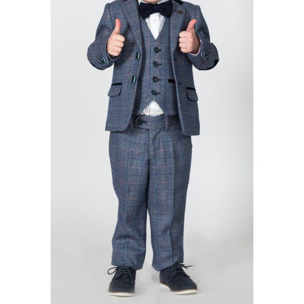 Marc Darcy Boys Hilton Blue Tweed Check Suit