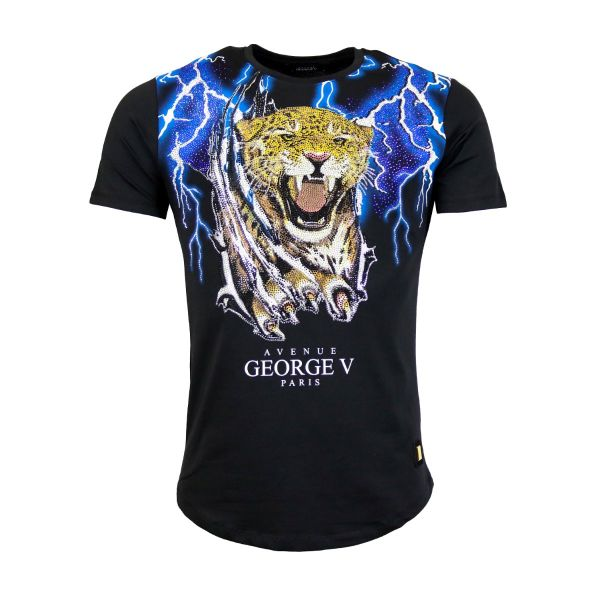 Black Tiger And Blue Lightening Diamonte Crew Neck T-Shirt