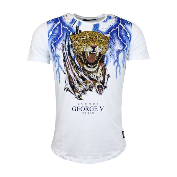 White Tiger And Blue Lightening Diamonte Crew Neck T-Shirt