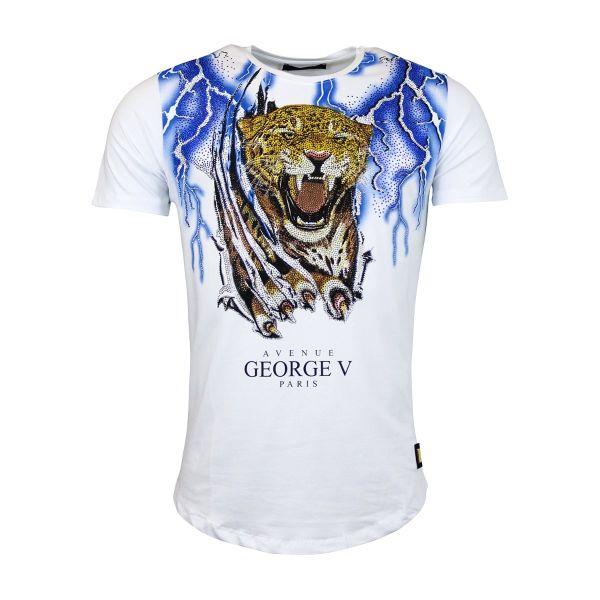 White Tiger And Blue Lightening Diamonte Crew Neck T-Shirt