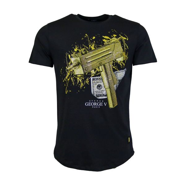 Black And Gold Money Machine Gun Diamonte Crew Neck T-Shirt