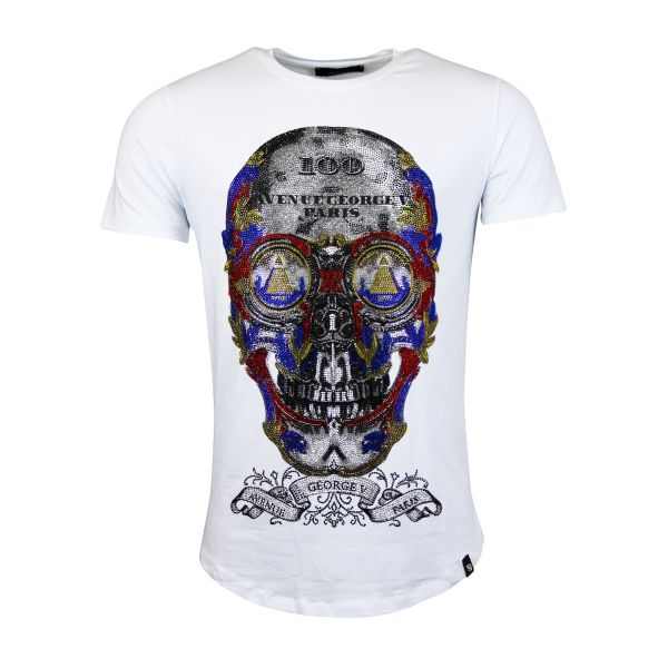 White Multi Colour Skull Diamonte Crew Neck T-Shirt