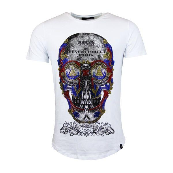 White Multi Colour Skull Diamonte Crew Neck T-Shirt