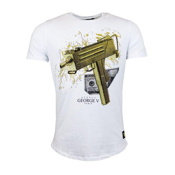 White And Gold Money Machine Gun Diamonte Crew Neck T-Shirt