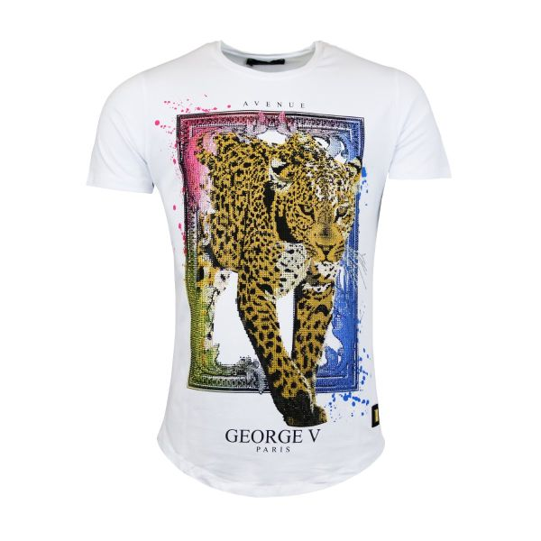White Tiger Multi Coloured Diamonte Crew Neck T-Shirt