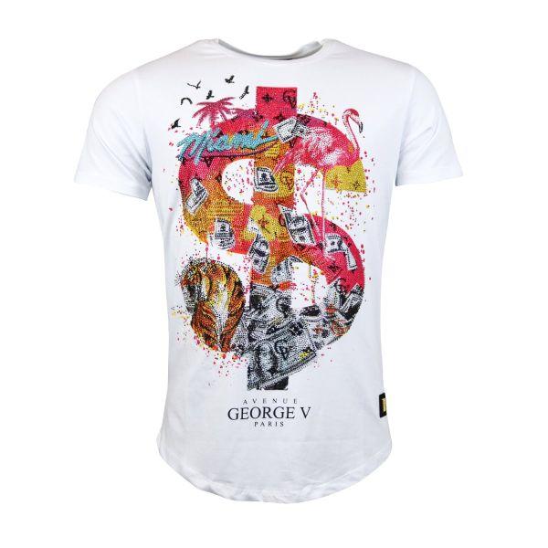 White Dollar Miami Diamonte Crew Neck T-Shirt