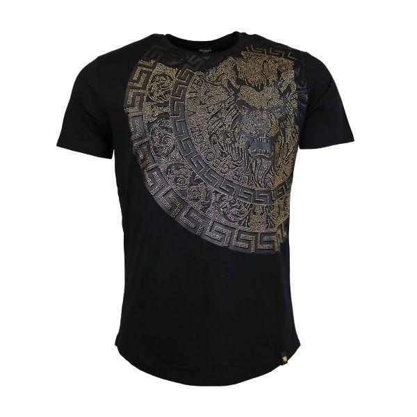 Black And Gold Lion Head Diamonte Crew Neck T-Shirt