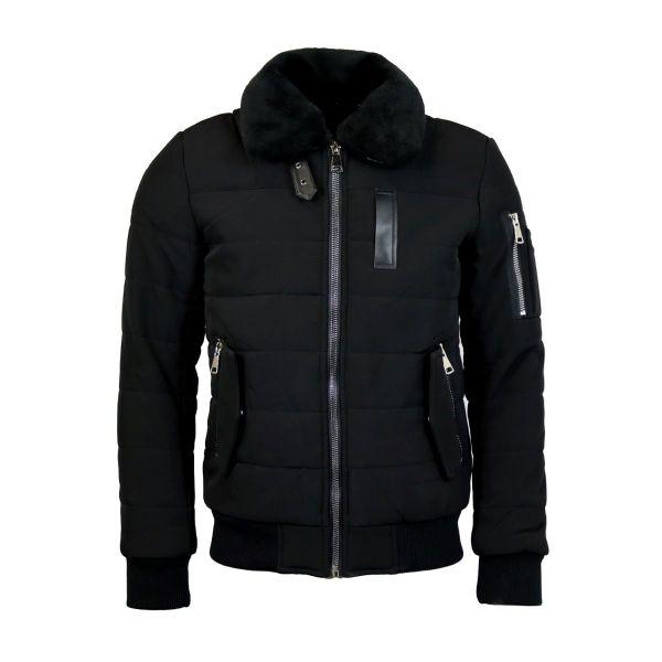 Black Fur Bomber Zip Coat