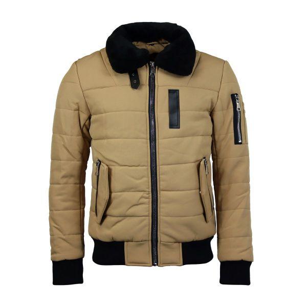 Beige Fur Bomber Zip Coat