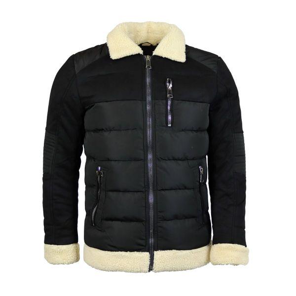 Black Borg Collar Suede Coat