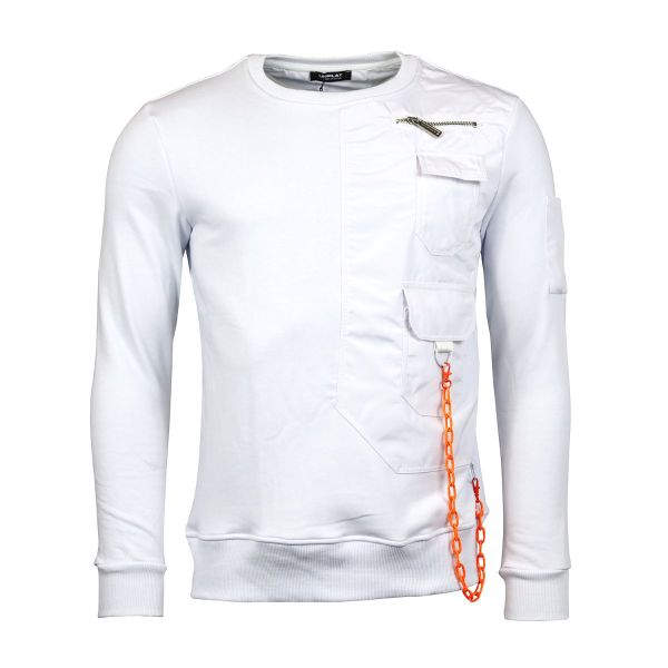 White and Orange Statement Chain Sweatshirt