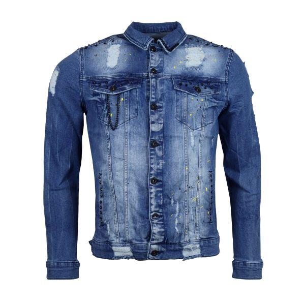 Blue Paint Splat Tiger Print Denim Jacket
