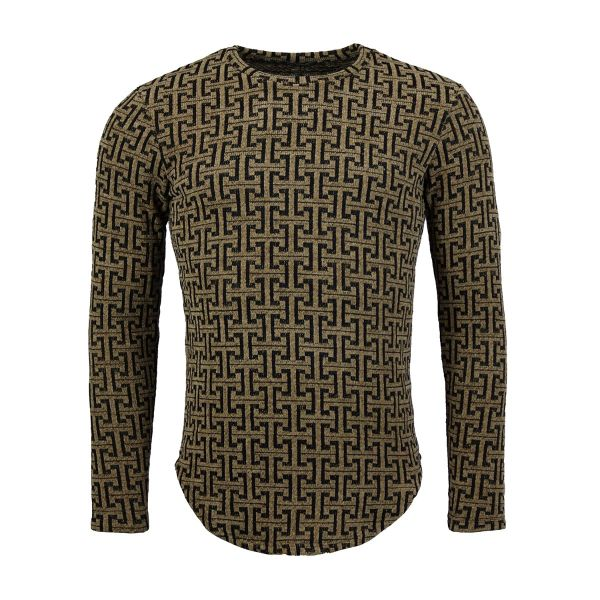 Brown And Black Patterned Long Sleeve Top