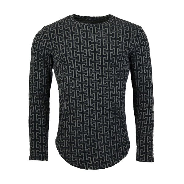 Grey And Black Patterned Long Sleeve Top