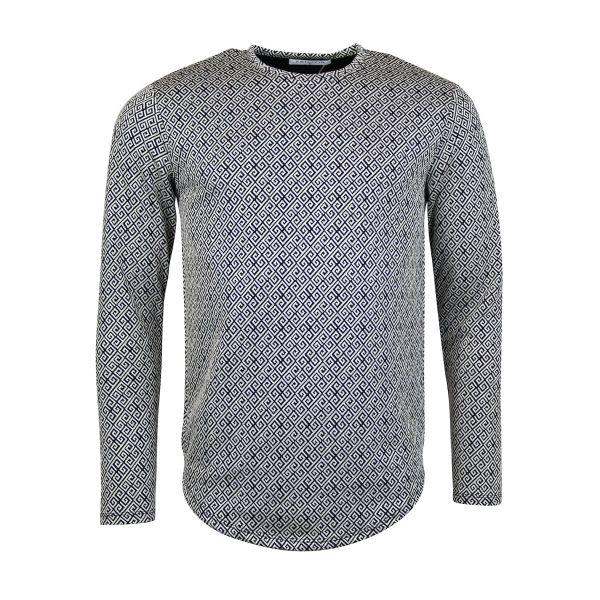 White Mazed Print Design Long Sleeve Top