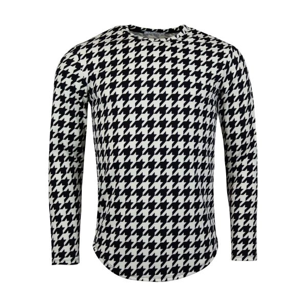 Black And White Patterned Print Long Sleeve Top