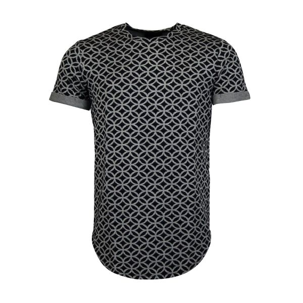Grey And Black Patterned Design Crew Neck T-Shirt