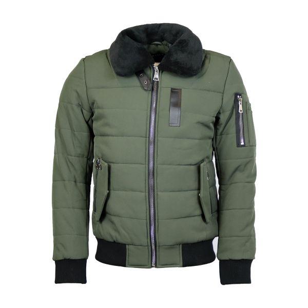 Khaki Fur Bomber Zip Coat