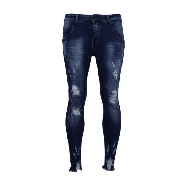 Dark Blue Frayed And Ripped Denim Skinny Fit Jeans