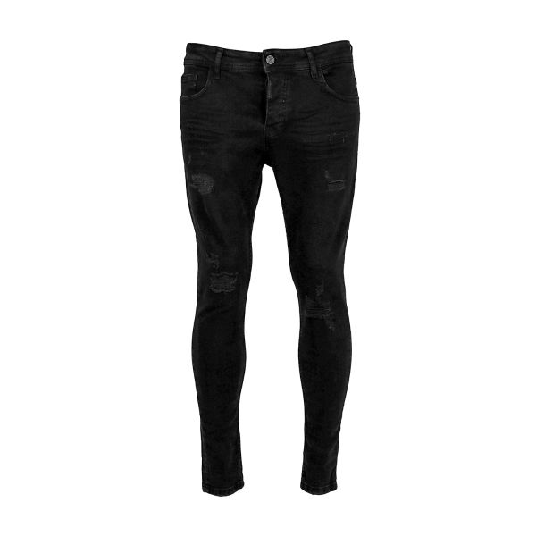 Black Grazed Ripped Skinny Fit Jeans