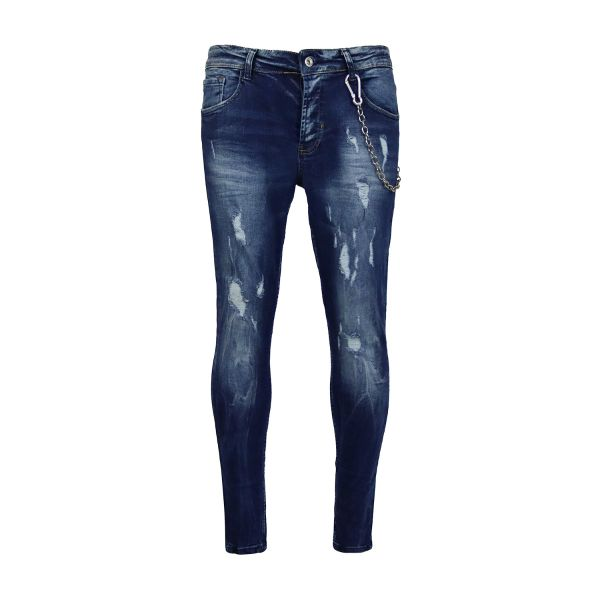 Blue Distressed Chained Skinny Fit Jeans