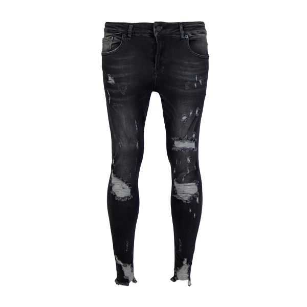 Dark Grey Distressed Frayed Skinny Fit Jeans
