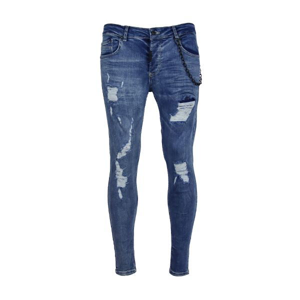 Light Blue Distressed Chained Skinny Fit Jeans