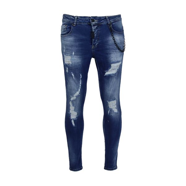 Blue Ripped And Distressed Skinny Fit Jeans