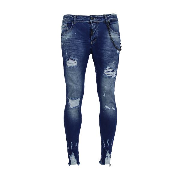 Blue Ripped And Spotted Distressed Skinny Fit Jeans