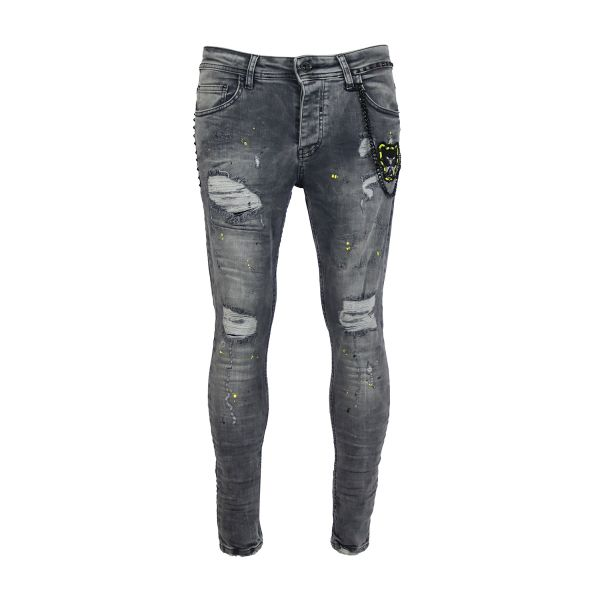 Grey Paint Splat Tiger Print Skinny Fit Jeans
