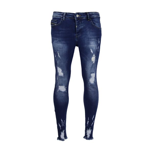 Dark Blue Ripped And Frayed Detailed Skinny Fit Jeans