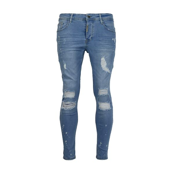 Light Blue Ripped Skinny Fit Jeans With Paint Splat Detail