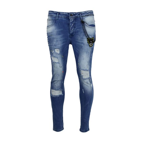 Blue Paint Splat Tiger Print Skinny Fit Jeans