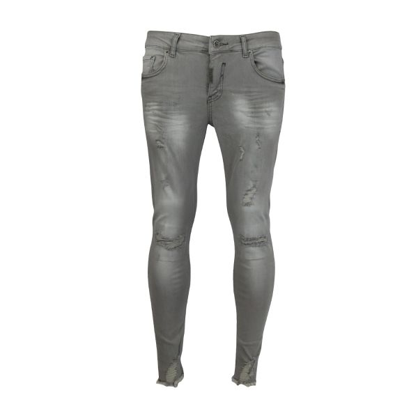Light Grey Ripped And Frayed Detailed Skinny Fit Jeans
