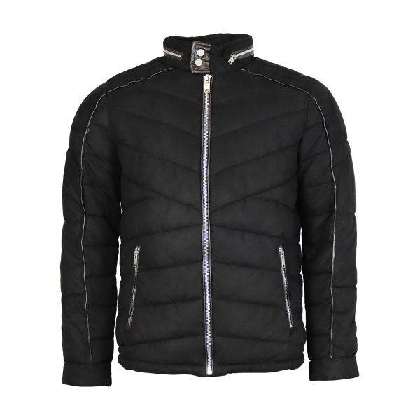 Black Zip Detailed Ribbed Coat