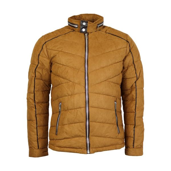 Tan Zip Detailed Ribbed Coat