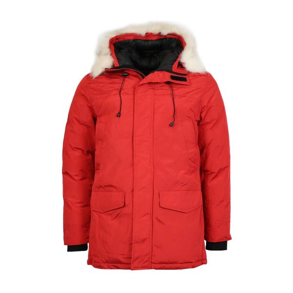 Red Parka With Faux Fur Hood