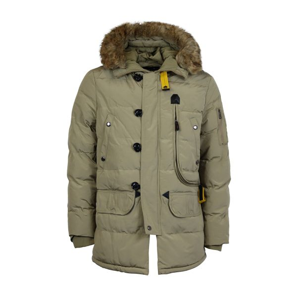 Beige Ribbed Parka With Faux Fur Hood