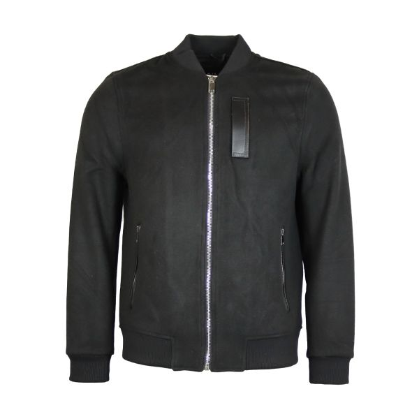 Black Wool Effect Bomber Jacket