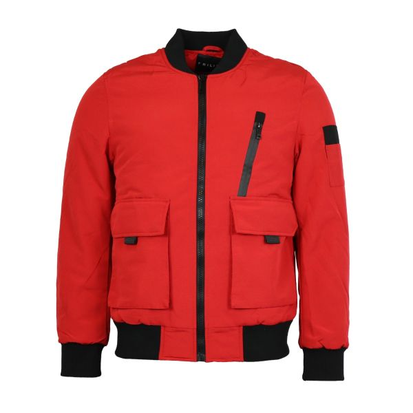 Red Puffer Bomber Jacket