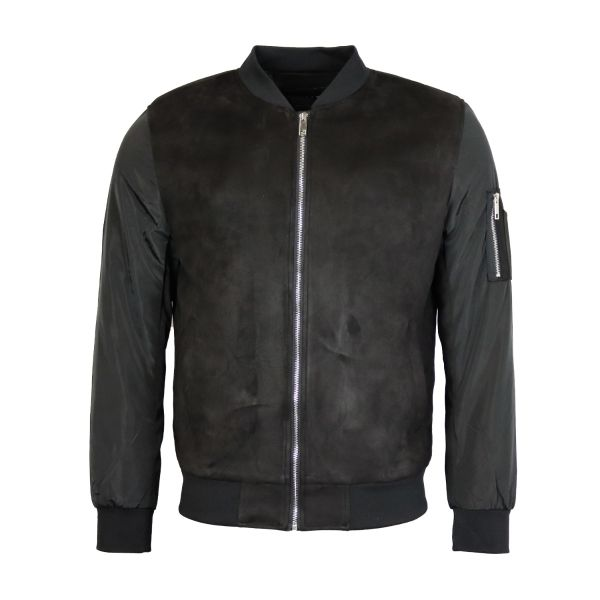 Black Suede Effect Bomber With Nylon Sleeves