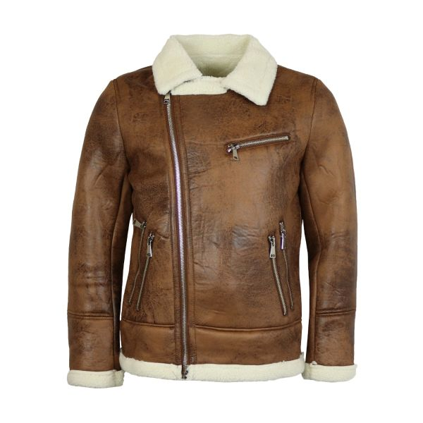 Camel Borg Collar Aviator Coat