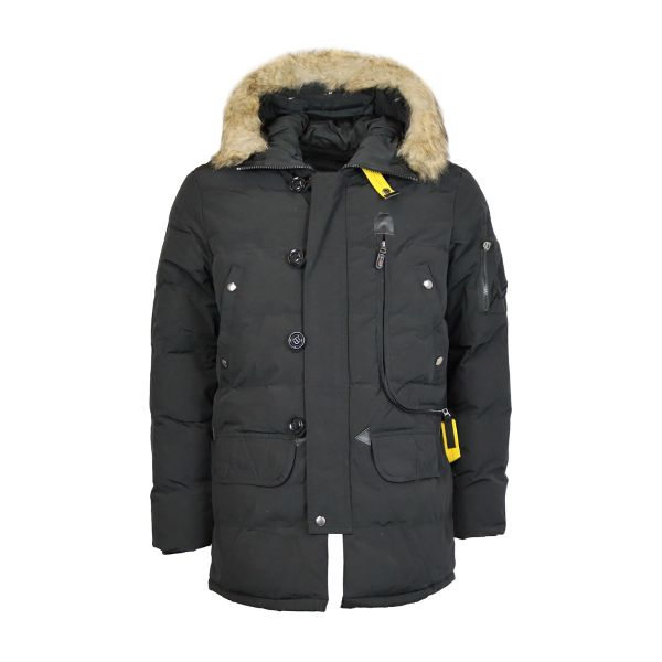 Black Ribbed Parka With Faux Fur Hood