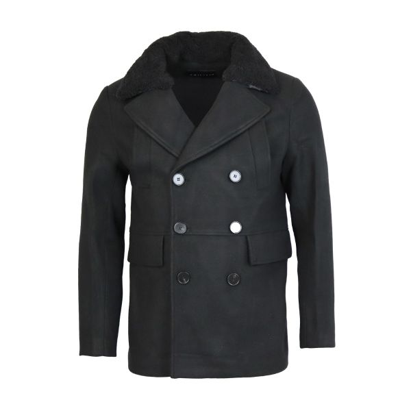 Black Borg Collar Pea Coat