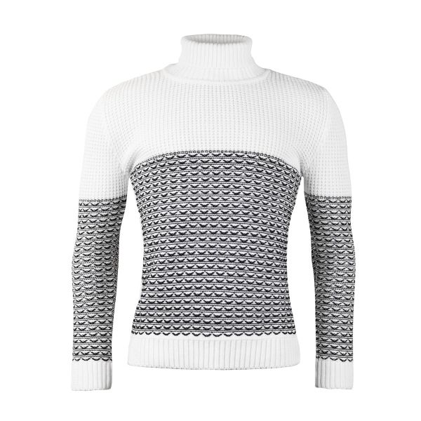 White Roll Neck Knitwear With Patterned Detailing