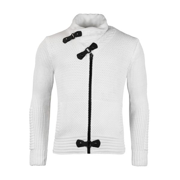 White Foldable Neckline Knitwear With Strap Button And Zip Fastening