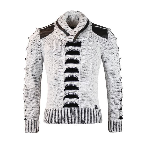 White Patterned Faux Leather Knitwear With Zip Detailing