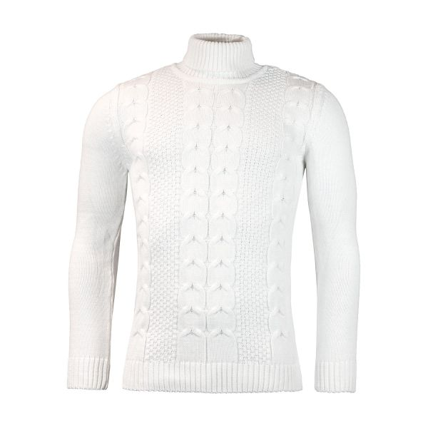 White Knitted Roll Neck Jumper