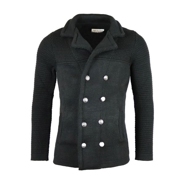 Black Collared Knitted Long Cardigan