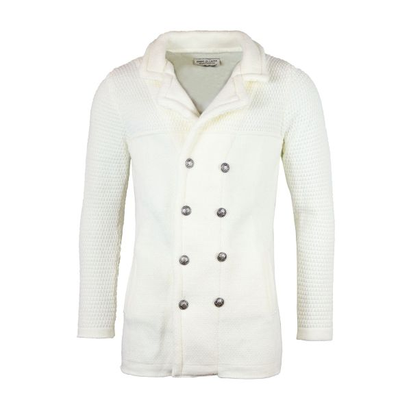 White Collared Knitted Long Cardigan